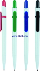 White barrel promotional ballpoint pen with color trims