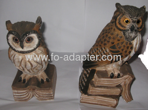 Lively Owl carved Wooden Decoration