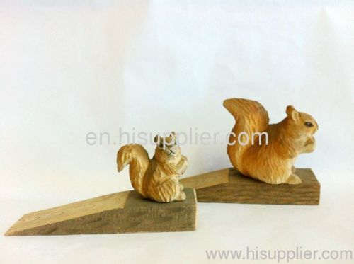 wood carving animal door stop