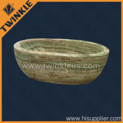 green natural stone bathtub