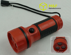 3leds aaa battery operated plastic led flashlight