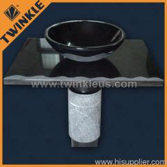 black marble stone sink