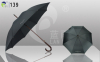 Automatic Open Straight Umbrellas Wooden Shaft and Handle Pongee Fabric Promotional Item Factory