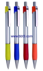 Plastic promotional ballpen with silver barrel and metal clip