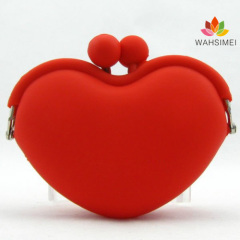 Latest heart shape silicone coin cosmetic wallet China manufacturer