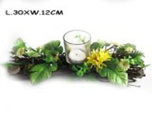 wooden candle holder craft with glass spring
