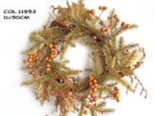 Cheap bronze bright painted gold powder Christmas decorative wreath