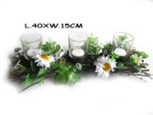 spring wooden with glass candle holder
