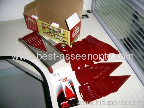 New Pro-V Stainless Steel Body Red Mandoline Slicer 5 Insets
