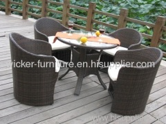 Patio furniture wicker KD dining table with chairs