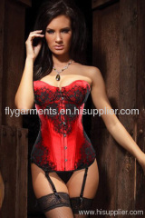 All Steel Bone Classical Lace Overlay Corset