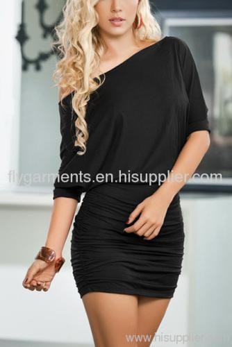 Black Classic Short Sleeve Mini Dress