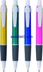 Promotional ballpoint pen with white trims and rubber grip