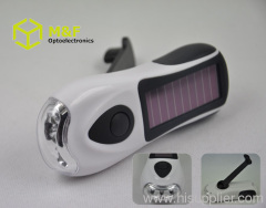 3LED solar power rechargeable led flashlight
