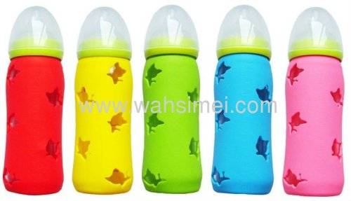 colorful eco-friendly silicone feeding baby bottle with cover