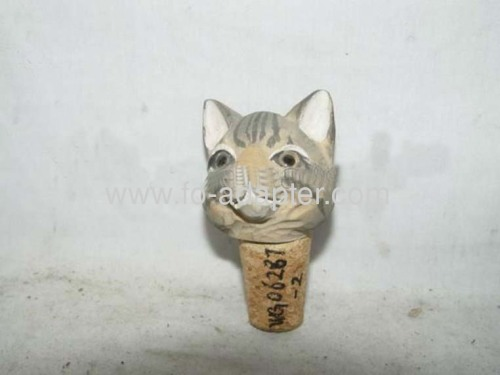 Cat Wooden Carved Wine Bottle Stopper