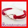 Gold Plated Lobster Clasp Infinity Leather Chain Bracelet