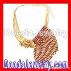 ladies crystal sideways tassels necklace