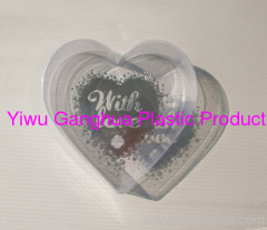 PET clear box with silver blocking logo in heart shape for food package