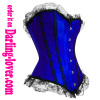 Bule satin fabric lace trim lace corset