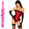 Red satin lace trim lace corset