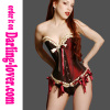 Purple satin frill trim lace corset