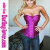 Purple rhinestone frill satin trim lace corset