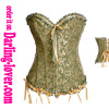 Green Gold floral pattern lace corset
