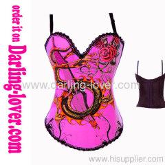 printed dargon pink sexy corsets