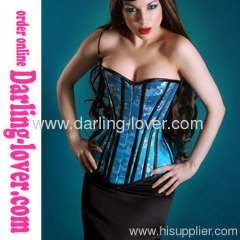 Turquoise Strapless overbust corsets