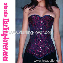 Purple Floral Printed Overbust Sexy Corset