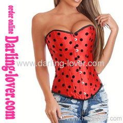 Red Satin sexy overbust corsets