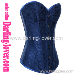 Blue fabric Sexy overbust corsets