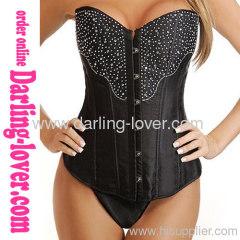 black rhinestone sexy corsets