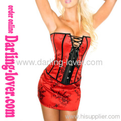 red Sexy tang suit overbust corset