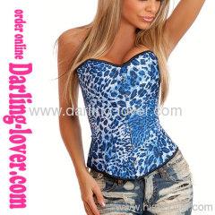 Bule white spot Satin overbust corsets