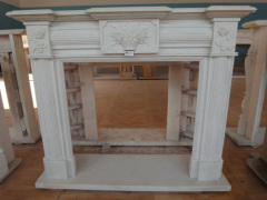 Fangshan White marble pillar fireplace mantel