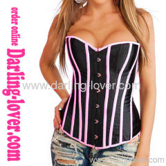 pink and black strapless corsets