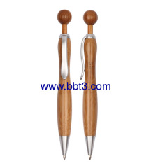 Promotional bamboo ballpoint pen with ball-shape click
