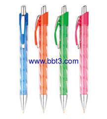 Promotional ballpoint pen with transparent barrel and metal clip