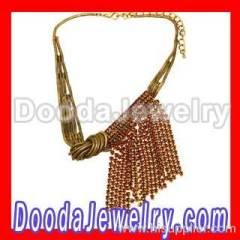 Vintage style crystal tassel necklace