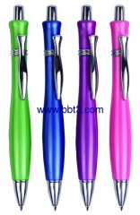 Promotional ballpen with pearl finish barrel and metal clip