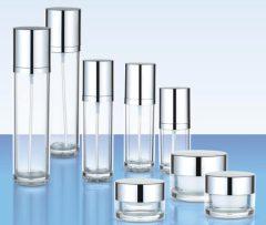 cream jar acrylic and aluminum cap lotion bottle