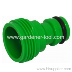 Plastic garden hose end with male thread