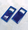Blue plastic key ring with bottle opener