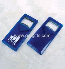 Blue acrylic key ring with bottle opener