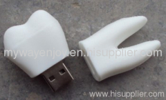 Dentist gifts white PVC tooth usb flash drive for promotional items