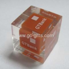Solid clear acrylic brandname cubes