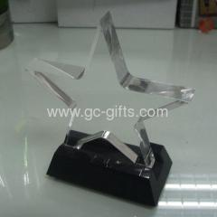 Clear plastic paperweight block star shape