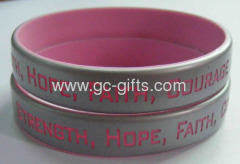 Silver painted debossed silicone wristbands